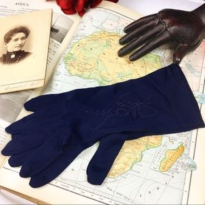 Vintage 50s Navy Embroidered Rayon Evening Gloves